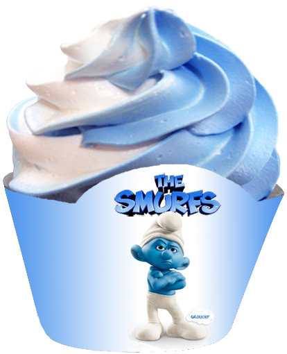 grouchy smurf cupcake wrapper blue and white