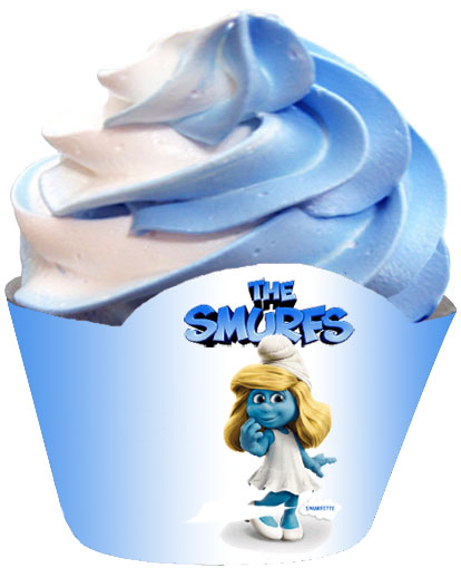 smurfette cupcake wrapper blue and white