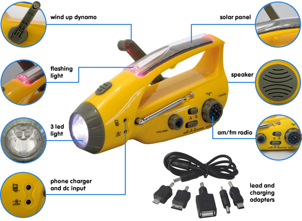 Solar Dynamo Torch Radio Phone Charger